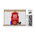 Jersey blanco rojo personalizado del baloncesto sellos
