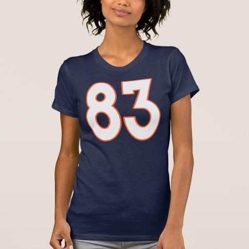 Jersey blanco y anaranjado número 83 camiseta