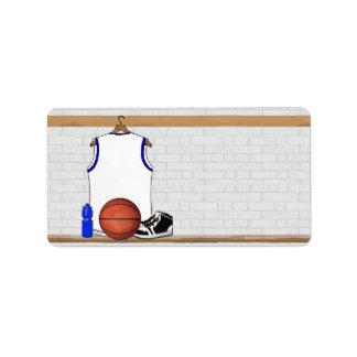 Jersey blanco y azul del baloncesto etiquetas de dirección
