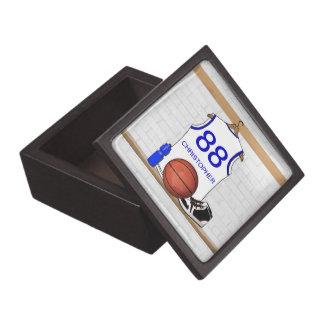 Jersey blanco y azul personalizado del baloncesto cajas de recuerdo de calidad