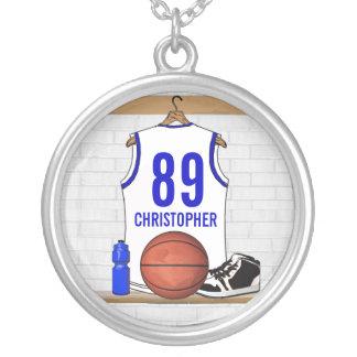 Jersey blanco y azul personalizado del baloncesto collar plateado