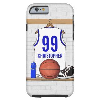 Jersey blanco y azul personalizado del baloncesto funda para iPhone 6 tough