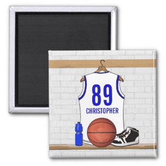 Jersey blanco y azul personalizado del baloncesto imán cuadrado