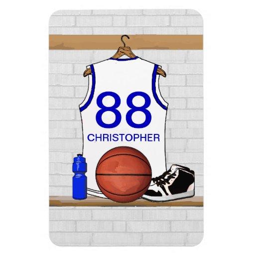 Jersey blanco y azul personalizado del baloncesto imanes flexibles