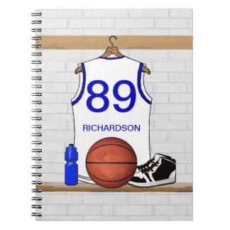 Jersey blanco y azul personalizado del baloncesto libros de apuntes con espiral