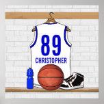 Jersey blanco y azul personalizado del baloncesto póster