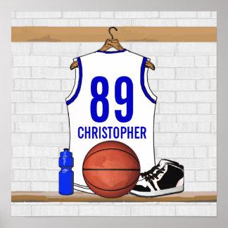 Jersey blanco y azul personalizado del baloncesto poster