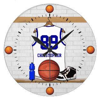 Jersey blanco y azul personalizado del baloncesto reloj redondo grande