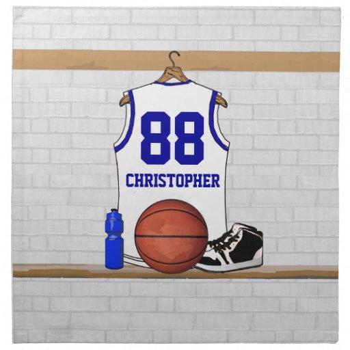 Jersey blanco y azul personalizado del baloncesto servilletas imprimidas