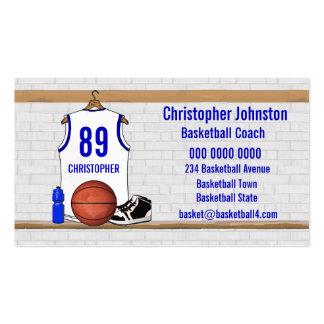Jersey blanco y azul personalizado del baloncesto tarjetas de visita