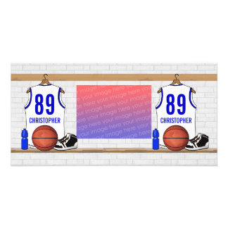 Jersey blanco y azul personalizado del baloncesto tarjetas personales con fotos