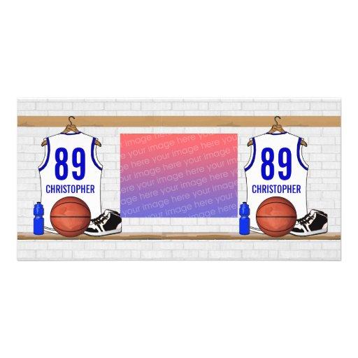 Jersey blanco y azul personalizado del baloncesto tarjeta personal con foto