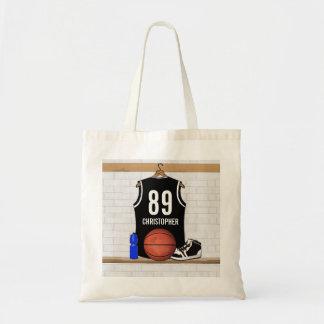 Jersey blanco y negro personalizado del baloncesto bolsa tela barata