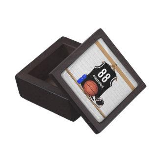 Jersey blanco y negro personalizado del baloncesto caja de recuerdo de calidad