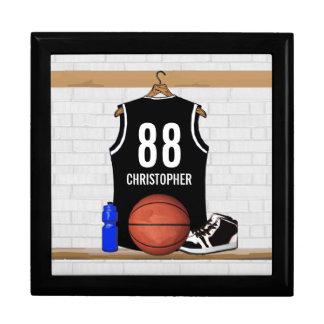 Jersey blanco y negro personalizado del baloncesto joyero cuadrado grande