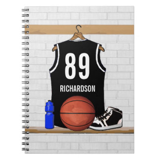 Jersey blanco y negro personalizado del baloncesto libro de apuntes