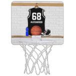 Jersey blanco y negro personalizado del baloncesto canasta mini