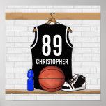 Jersey blanco y negro personalizado del baloncesto póster