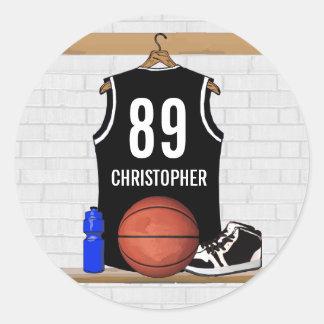 Jersey blanco y negro personalizado del baloncesto pegatina redonda
