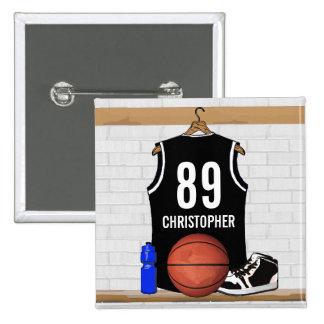 Jersey blanco y negro personalizado del baloncesto pin cuadrado