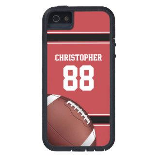 Jersey blanco y negro rojo del fútbol de las rayas iPhone 5 funda