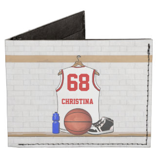 Jersey blanco y rojo personalizado del baloncesto billeteras tyvek®