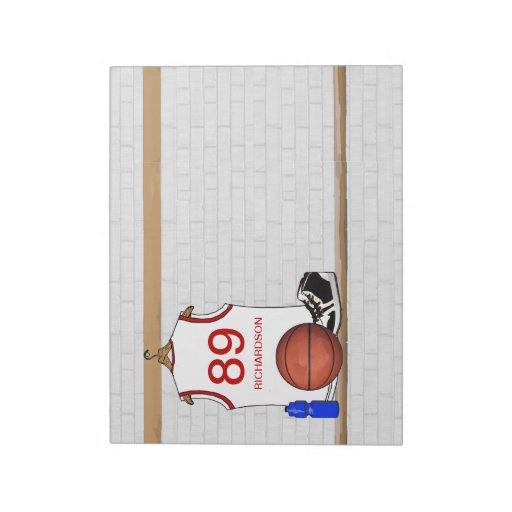 Jersey blanco y rojo personalizado del baloncesto bloc