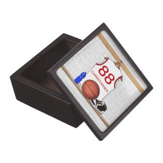 Jersey blanco y rojo personalizado del baloncesto cajas de recuerdo de calidad