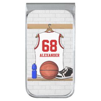 Jersey blanco y rojo personalizado del baloncesto clip para billetes plateado
