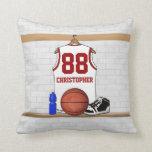 Jersey blanco y rojo personalizado del baloncesto almohadas