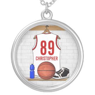 Jersey blanco y rojo personalizado del baloncesto colgante redondo