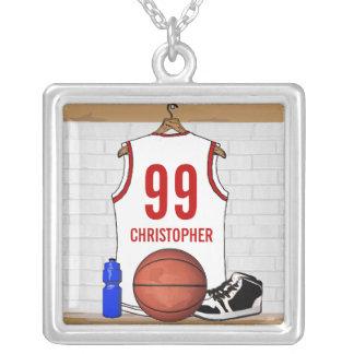 Jersey blanco y rojo personalizado del baloncesto colgante cuadrado