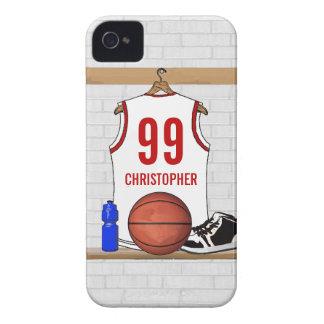 Jersey blanco y rojo personalizado del baloncesto iPhone 4 Case-Mate carcasas