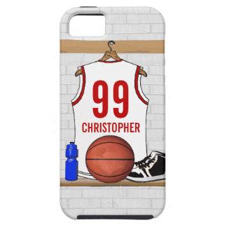 Jersey blanco y rojo personalizado del baloncesto iPhone 5 carcasa
