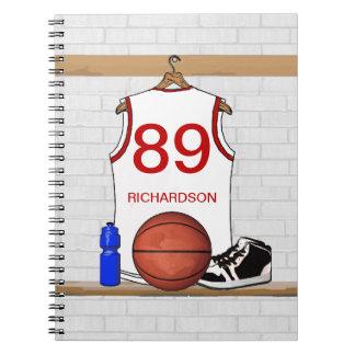 Jersey blanco y rojo personalizado del baloncesto libreta
