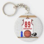 Jersey blanco y rojo personalizado del baloncesto llavero redondo tipo chapa