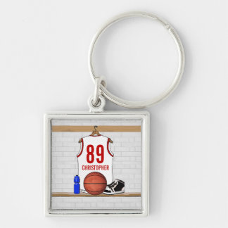 Jersey blanco y rojo personalizado del baloncesto llavero cuadrado plateado