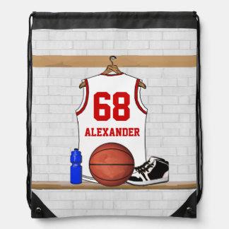 Jersey blanco y rojo personalizado del baloncesto mochilas