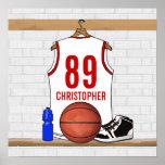 Jersey blanco y rojo personalizado del baloncesto póster