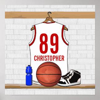 Jersey blanco y rojo personalizado del baloncesto impresiones