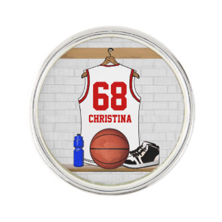 Jersey blanco y rojo personalizado del baloncesto pin