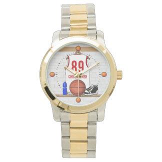 Jersey blanco y rojo personalizado del baloncesto relojes