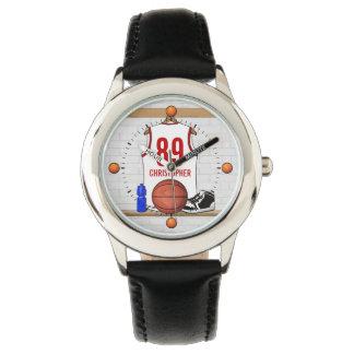 Jersey blanco y rojo personalizado del baloncesto reloj