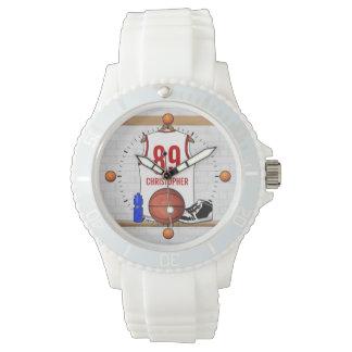Jersey blanco y rojo personalizado del baloncesto relojes de pulsera