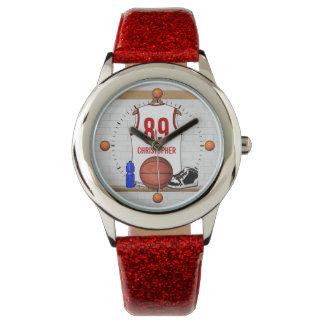 Jersey blanco y rojo personalizado del baloncesto relojes de mano