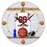 Jersey blanco y rojo personalizado del baloncesto reloj redondo grande