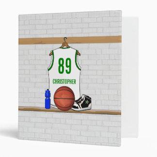 """Jersey blanco y verde personalizado del baloncesto carpeta 1"""""""