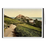 Jersey, castillo de Mont Orgueil, isla de canal, E Felicitaciones