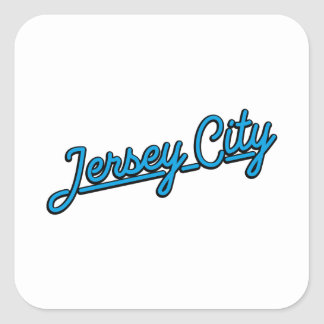 Jersey City in cyan Square Sticker