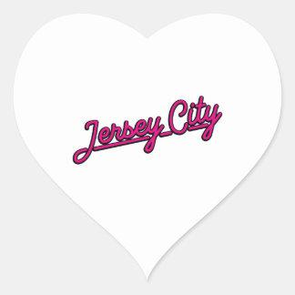 Jersey City in magenta Heart Sticker